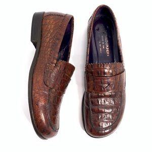 Donald J Pliner Crocodile Leather Penny Loafers 7M